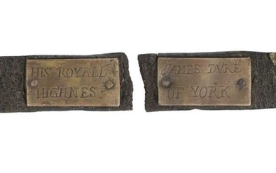 Dog Collar. A late 17-century leather and brass dog collar engraved 'James Duke of York'
