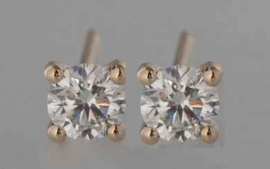 Earrings in 14kt with brilliant cut diamonds 0.40ct