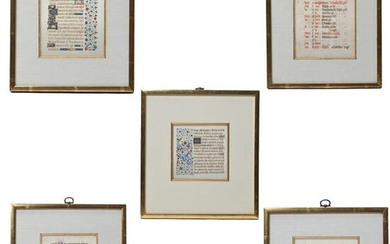 Five Framed Double Sided Illuminated Pages from a Book
