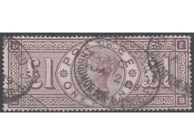 GREAT BRITAIN STAMPS : 1888 £1 Brown Lilac orbs wmk fine us...