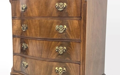 Georgian style mahogany serpentine front chest, moulded top over...