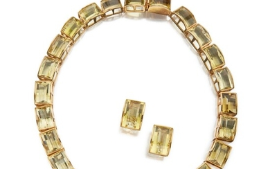 Gold and Citrine Necklace and Pair of Earclips, Tony Duquette