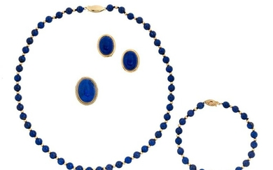 Gold and Lapis Lazuli Jewelry Suite