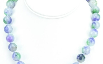 Hand Knotted Green & Lavender Jade Necklace Strand