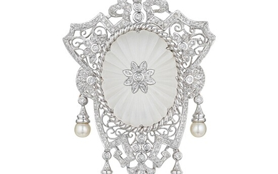 Large Diamond Quartz Crystal and Cultured Pearl Brooch/Pendant