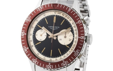 Longines. Impressive and Historically Important Skin Diver Chronograph Wristwatch in Steel, Reference 7981–1, Black and Silver tachymetric Scale Dial, Rotating Bezel, Original Box, Invoice, Guarantee and Tag