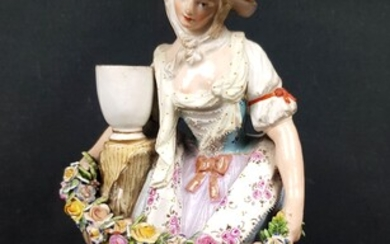 MEISSEN - Polychrome and gold porcelain STATUTE representing a young...