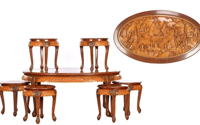 (-), Oriental oval coffee table with glass top...