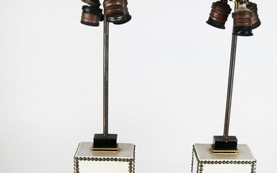 Pair of Ebonized & Leather Table Lamps