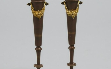 Pair of French Ormolu Mounted Gilt Bronze Bud Vases