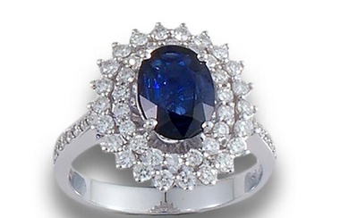 SAPPHIRE GOLD DOUBLE BAND DIAMOND RING