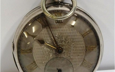 SILVER POCKET WATCH WITH SILVER DIAL GOLD NUMERALS GOOD WORK...