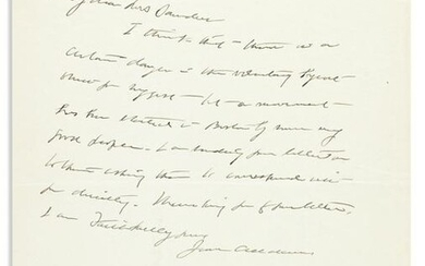 (SUFFRAGISTS.) ADDAMS, JANE. Autograph Letter Signed