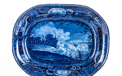 """Staffordshire Historical Blue Transfer-decorated """"Niagara from the American Side"""" Platter"""