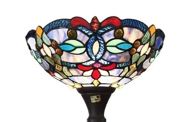 Stained Art Glass Torchiere Floor Lamp
