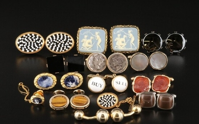 """Vintage Cufflinks Selection Featuring Roman Soldier Intaglio and Dante """"Nymphs"""""""