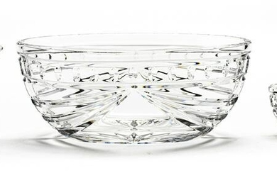 WATERFORD CRYSTAL OVAL BOWL, CREAMER, AND SUGAR