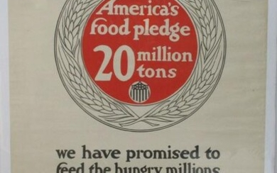 WWI US FOOD ADMINSTRATION POSTER - 20 MILLION TONS