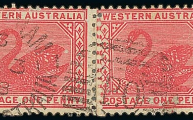 Western Australia 1902-11 Watermark V over Crown Mixed Perforations 1d. carmine-rose horizontal...