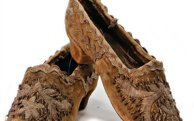 unusual, early, children's shoes, velvet, with
