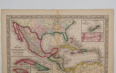 1860 Mitchell Map of the Caribbean and Mexico