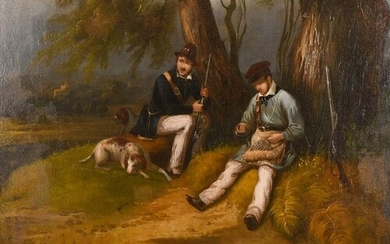 19th century continental school, A scene of two resting hunt...