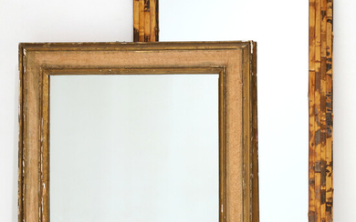 (2) Designer mirrors, painted and bamboo frames