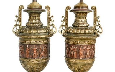 (2 Pc) Neoclassical Style Bronze Cassolettes Urns