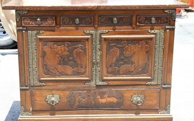 20th C Metal Decorated Chest, Tansu Style