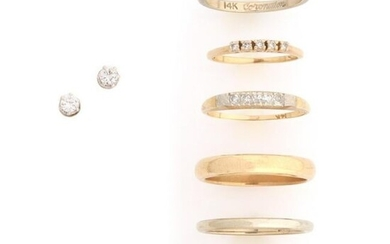 A COLLECTION OF 14K GOLD RINGS, PLUS DIAMOND EARRINGS