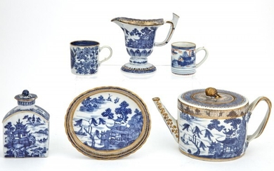 A Group of Chinese Export Blue and White Porcelain Articles