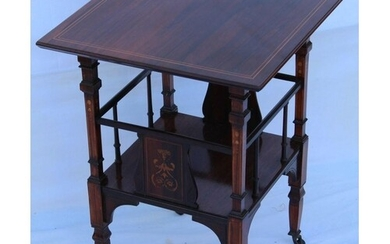 A LATE 19TH / EARLY 20TH CENTURY INLAID ROSEWOOD SQUARE TOPP...