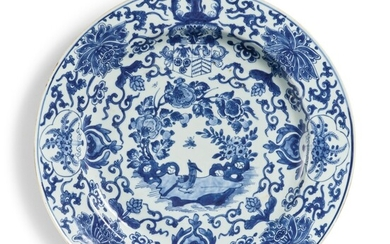 A Large Chinese Export Blue and White Plate for the Dutch Market, Qing Dynasty, Kangxi Period, 1700-10 | 清康熙 1700至1710年 青花花卉紋章圖大盤