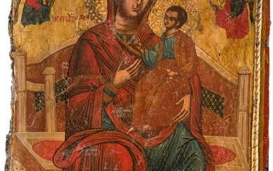 A MONUMENTAL ICON SHOWING THE ENTHRONED MOTHER OF GOD Macedonian,...