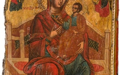 A MONUMENTAL ICON SHOWING THE ENTHRONED MOTHER OF GOD...