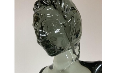 A Murano glass nude bust of a woman, c.1970, Indistinct sign...