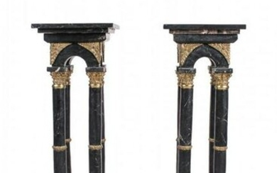A PAIR OF DORE BRONZE AND MARBLE PEDESTALS