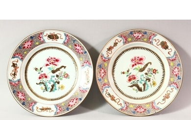 A PAIR OF LATE 19TH CENTURY FAMILLE ROSE PORCELAIN PLATES, p...