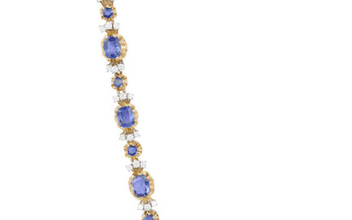 A SAPPHIRE AND DIAMOND BRACELET Composed of six...