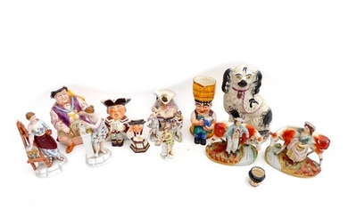A collection of 19th century and later figurines, including ...