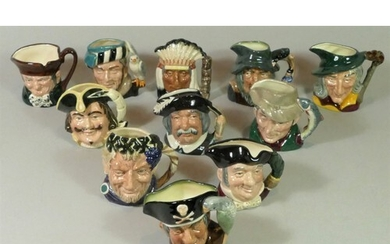 A collection of eleven Royal Doulton miniature Toby jugs, to...