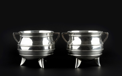 A pair of late Victorian silver twin handled bowls in...