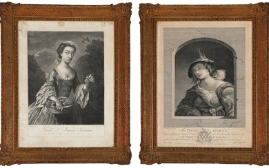 NOT SOLD. A pair of neo rococo frames of giltwood and gesso. The prints after...