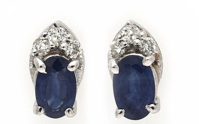 NOT SOLD. A pair of sapphire and diamond ear studs each set with a sapphire and three diamonds, mounted in 14k white gold. (2) – Bruun Rasmussen Auctioneers of Fine Art