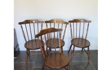 A set of four early 20th century penny seat chairs in genera...