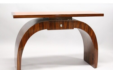 AN ART DECO STYLE ROSEWOOD CONSOLE TABLE, with a inlaid top,...