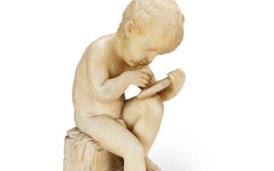 After Charles-Gabriel Sauvage, called Lemire (French, 1741-1827): A late 19th century carved alabaster figure of a child drawing