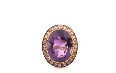 An 18ct yellow gold, diamond, and amethyst cocktail ring, se...