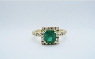 An Emerald and Diamond Cluster Ring, corner claw-set step-cu...