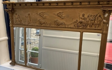An early 20th century gilt gesso overmantle mirror, 143 x 92...